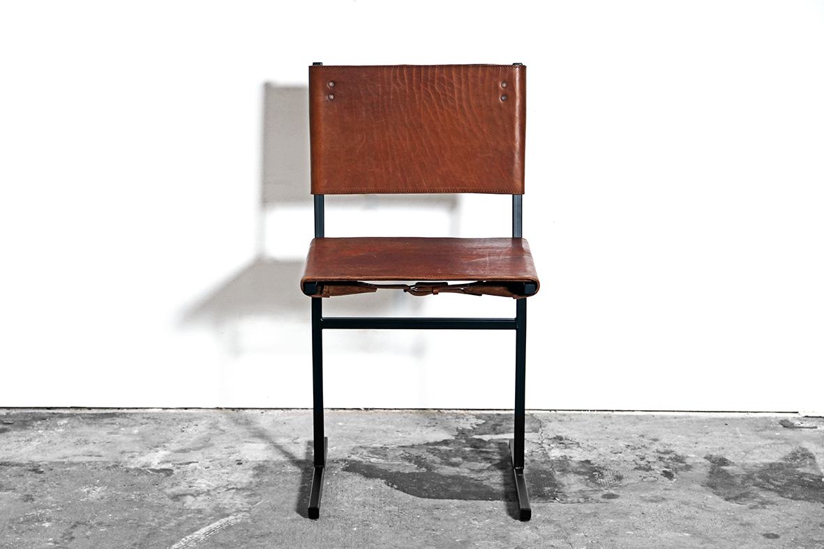 handmade artisan interior interiordesign design sober craftsmanship raw materials interiorstyling contemporary inspiration designer creative minimal minimalism wdstck amsterdam architecture architects art collective atelier  Memento leather buckles scars skin simplicity steel frame pure chair barstool ecological tanning seating object jesse sanderson
